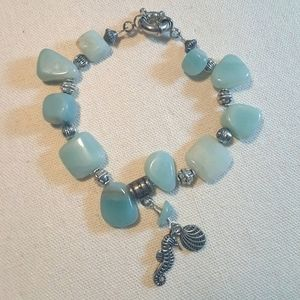 """8"""" amazonite bracelet with seahorse and shell"""